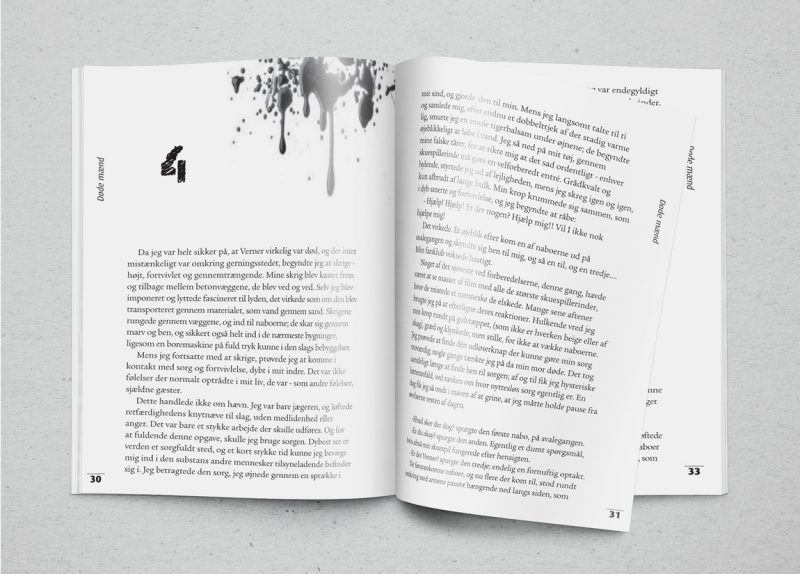 novel fiction book design book cover typeset interior book page layout print print-on-demand saxo createspace kindle epub kobo ebook spreads blood drips danish language