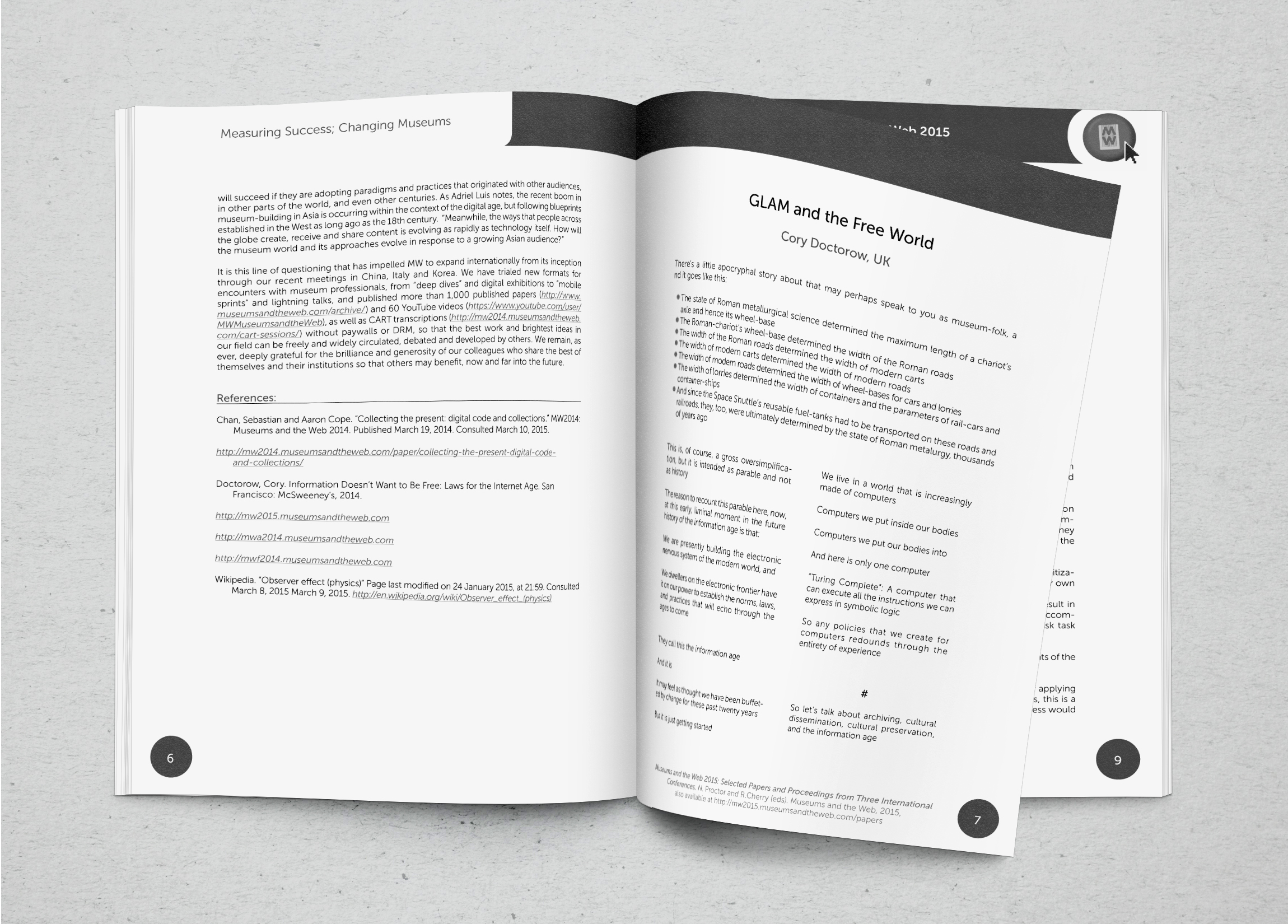 interior book design journal articles print booklet conference collateral branding 300+ pages printed assorted papers museums and the web mw2105 conference Corey Doctorow typeset, page layout, design,