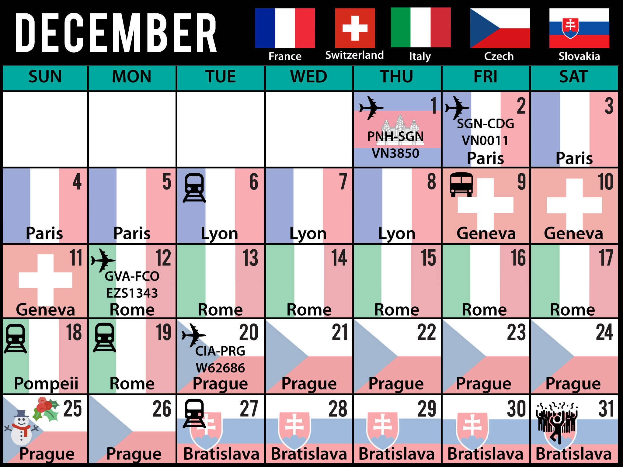 travel calendar used to visually at a glance see where I am travelling easily and quickly made for tablet ipad samsung and desktop computer as a desktop wallpaper holiday infographic design by lakazdi freelance graphic designer specialising in books and documents