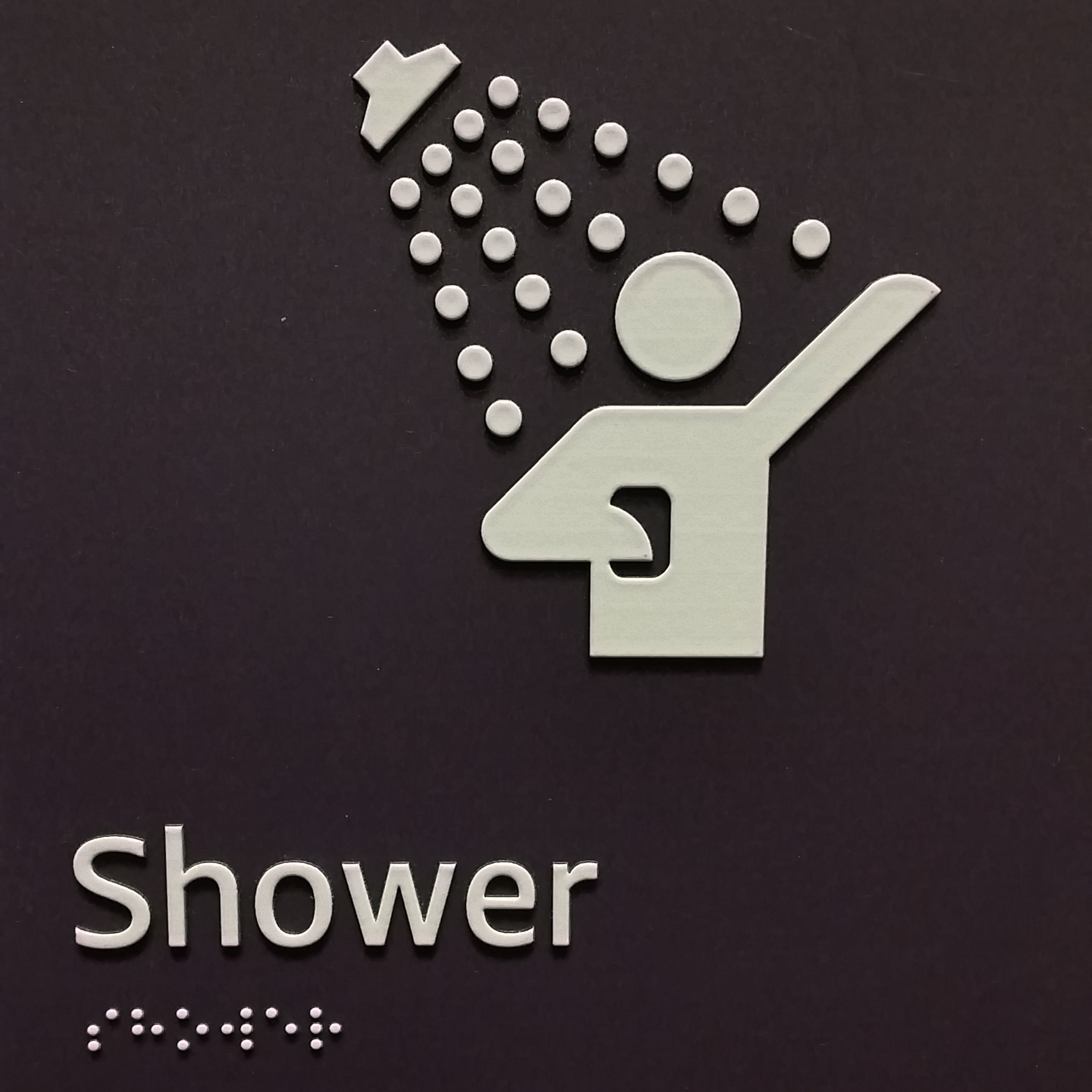 funny picture of a sign where there is someone in the shower with a phone. silly symbol