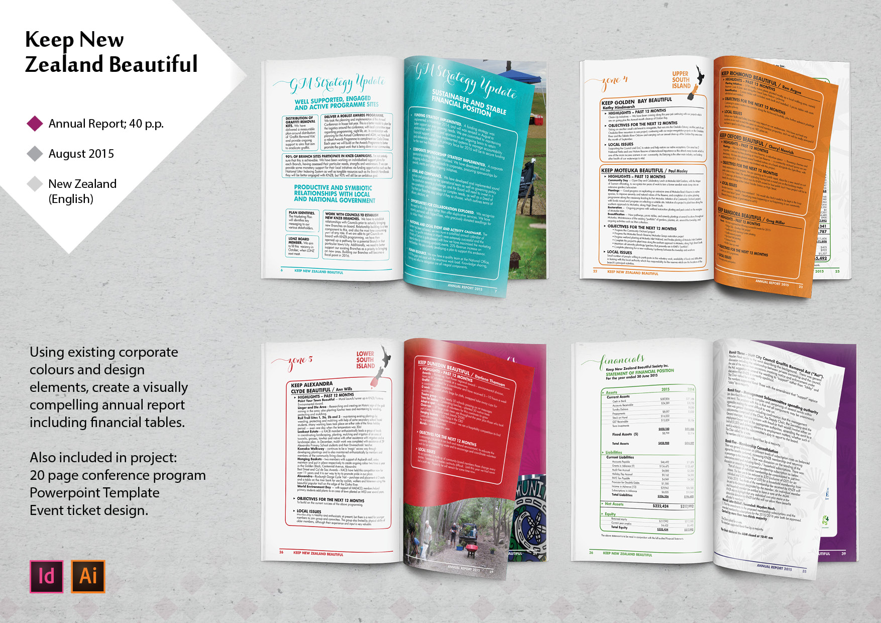 lakazdi graphic designer sample of work portfolio annual report keep new zealand beautiful indesign illustrator