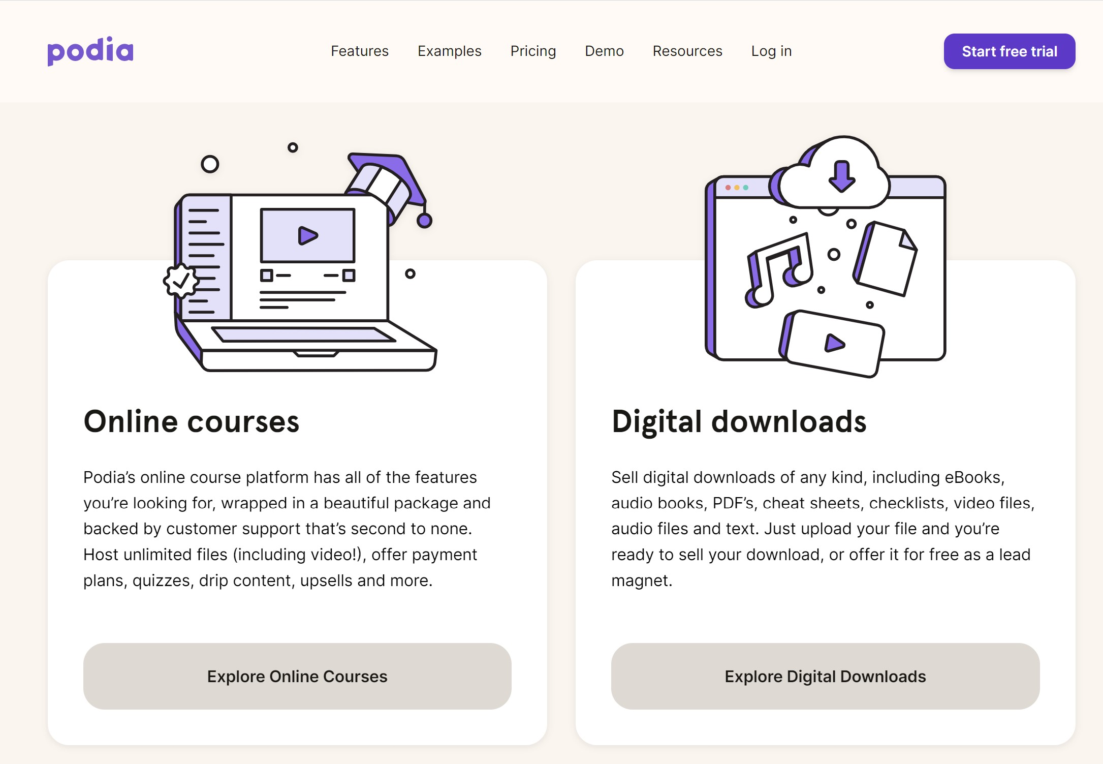 podia digital downloads and online courses