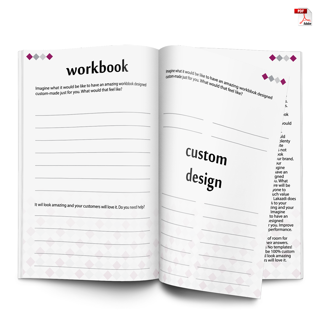 workbook design 100% custom based on your brand following company fonts and colours no template used unlimited activity pages based on your needs professional print and screen ready PDF with fillable fields best used for workshop lead magnet email list building teaching and selling course online