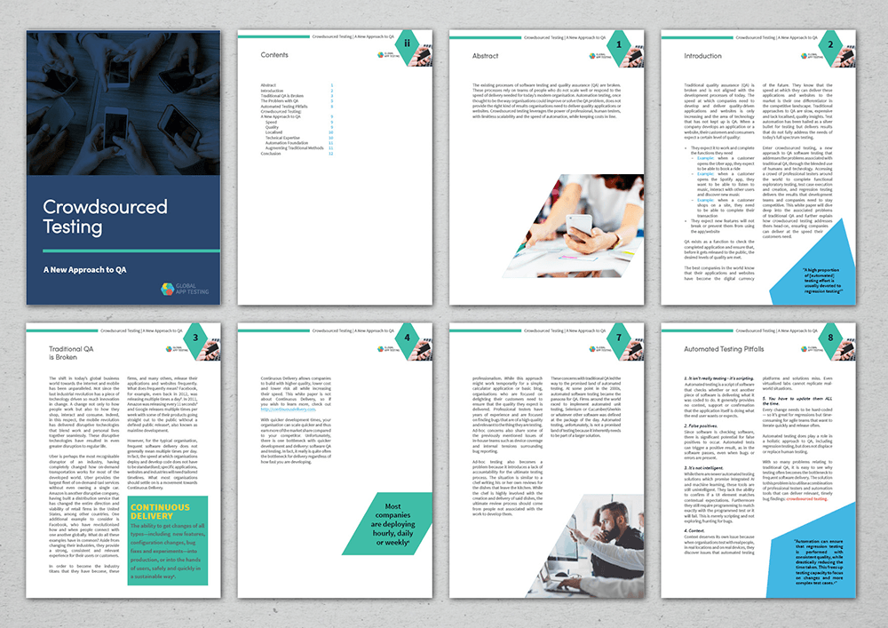 pages from a whitepaper including cover design