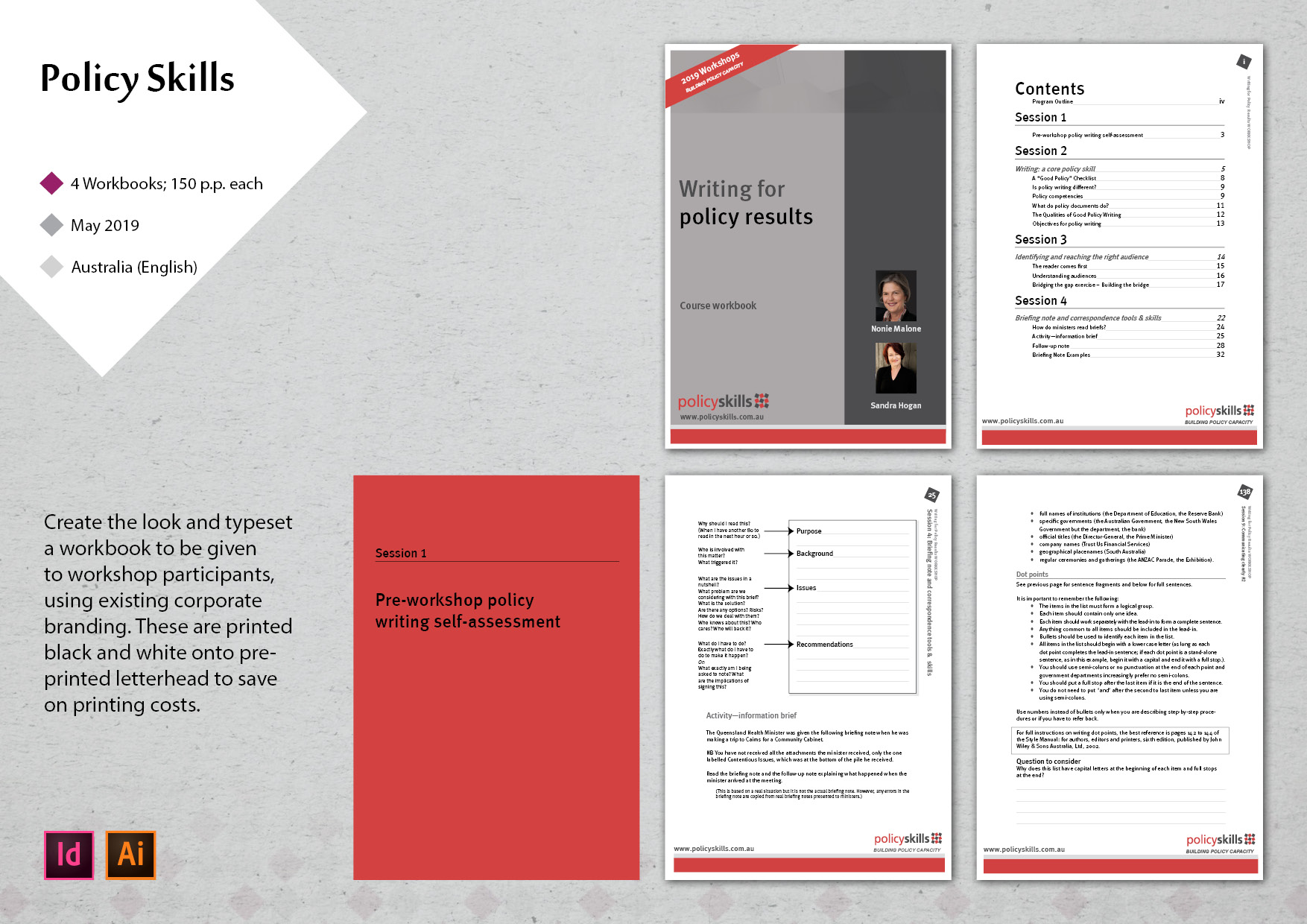 workbook design for a workshop