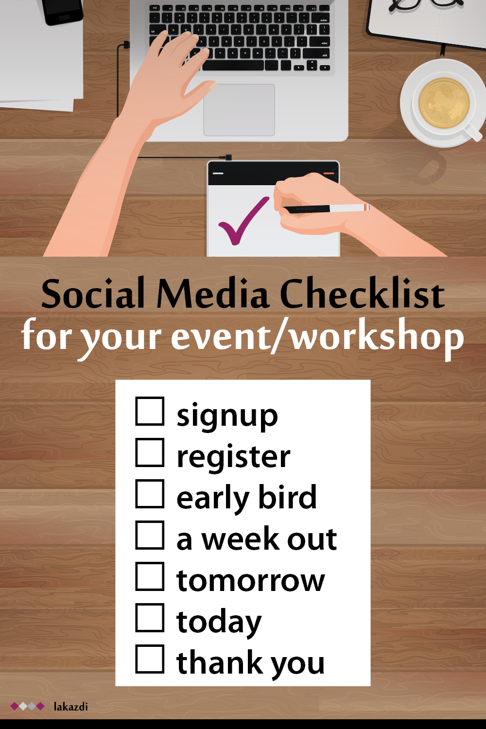 social media posting checklist for running a workshop or holding an event like a booth at a conference, convention, trade show, exhibition