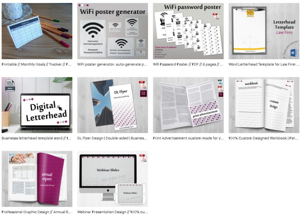 etsy store professional graphic design document services and simple but effective printables to help keep you and your business organised