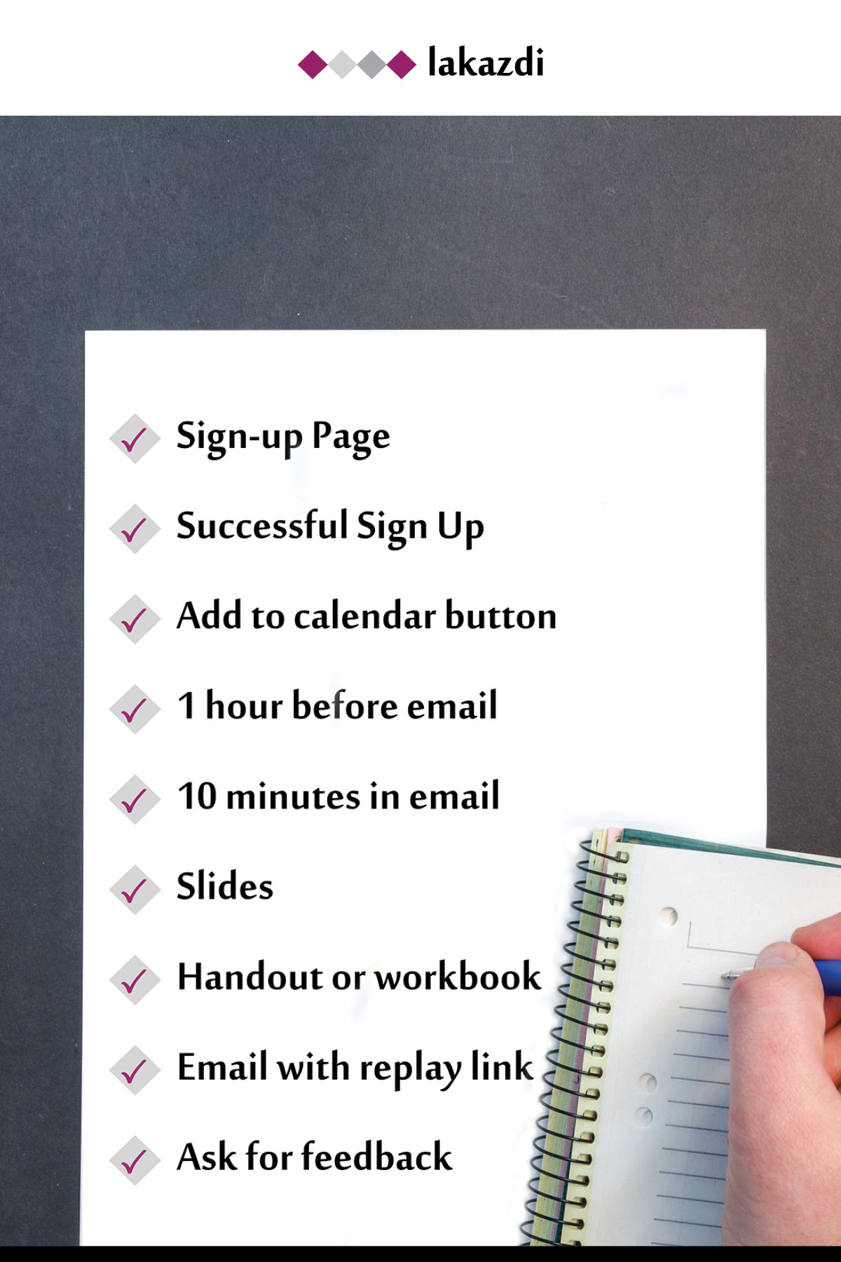 webinar checklist things to include to have a more successful webinar including getting a professional graphic designer to design your slides and handout or workbook