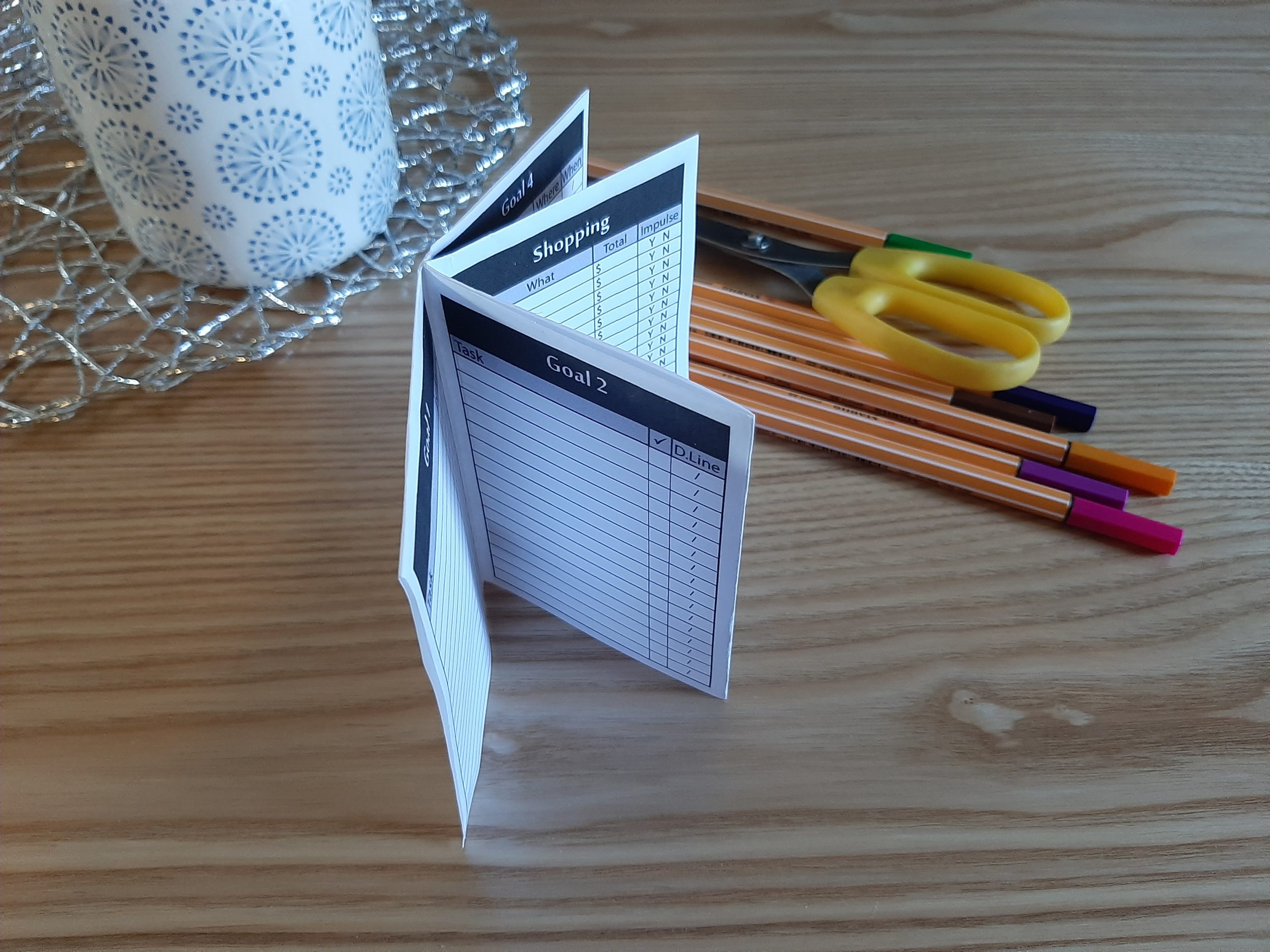 Printable // Monthly Goals // Tracker // Pen to Paper // Low Tech // Mini-book // Pocket Organiser pdf printable easy simple to use minimalist design pen paper analogue tactile pocket month habit spending tracker budget meal planning to do list bullet journal get it done GTD
