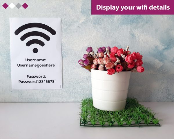 wifi password poster generator pdf hotel airbnb hostel restaurant cafe easy simple quick cheap effective copy paste handout posters table topper tables internet pass word give out